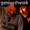 busaikko: John leaning on Rodney's shoulder (SGA genius@work)
