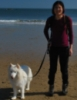 ext_440234: Liz and her Samoyed Misty at the beach. (Default)