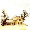 kasihya: [sepia-toned drawing of a one-story house under a tree] (house)