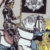 250in5: An illustration of a knight riding his horse with a banner. (Knight)