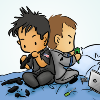 kate: John and Rodney chibis work work work (SGA: John/Rodney working chibi)