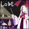 "yati: Flonne in front of a blackboard with the word ""Love"" on it. (love and peace!)"