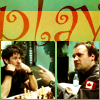 monanotlisa: john and rodney playing chess in the mess, titled in red letters: PLAY (for mcshep-match) (team play - sga)