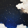 syntheid: [img] dark blue-black sky dotted with stars and framed by fluffy white clouds (space: the final frontier)
