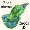 pseudogeek: Bird busy eating over a bowl. (food)