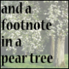 "jenett: Photograph of a pear tree, with ""And a footnote in a pear tree"" as text (and a footnote in a pear tree)"
