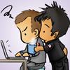 lilyleia78: Chibi John bringing annoyed chibi Rodney coffee (SGA: Team Work)