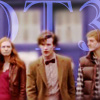 pocketmouse: Amy, the Doctor and Rory in front of the TARDIS. Labeled 'OT3.' (ot3)
