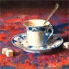 mercurychaos: Painting of a blue-and-white teacup and saucer on a red-and-purple floral patterned tablecloth. (Teacup)