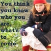 katlinel: The child Amelia Pond, sitting on her suitcase, with the text 'You think you know, who you are, what's to come' (Amelia Pond Case)