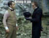 "shes_a_geek: Holmes and Moriarty at Reichenbach. Text above their heads reads ""Bring it on"". (Holmes)"