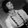 st_trinians: black and white picture of kelly tilted diagonally (kelly)