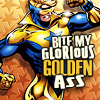 "sabinetzin: Booster Gold, text ""Bite my glorious golden ass"" (dc - glorious golden booster)"