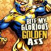 "sabinetzin: Booster Gold, text ""Bite my glorious golden ass"" (dc - glorious golden booster)"