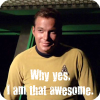 """ext_19671: Screencap of James T. Kirk from TOS episode """"The Concscience of the King"""" with the caption """"Why yes, I am that awesome."""" (awesomerodney)"""