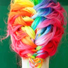 cranky_x_crocus: Hair dyed vivid rainbow French braided. (Hair || Rainbow French braid.)