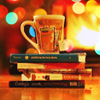 cranky_x_crocus: A warm picture of a tea-mug (with tea-bag-string) sitting on five unevenly-piled books. (Readwrite || Book and mug.)