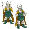 halialkers: Squat man in horned helmet, green tunic, orange cloak, carries spear (servant of Tyr, Windsong, Lord of the Etinar)