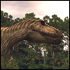 halialkers: Tyrannosaurus side view with S-curve, long deep muzzle (Tyranos)