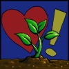 spacerobotcrew: Jim's icon of a plant growing out of the ground with a heart and exclamation point behind it (jim gardening)