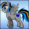 spacerobotcrew: A drawing of Jim as a my little pony. He's a grey pegasus with blue striped hair and a blue heart symbol on his butt. (brony)