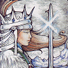 alexseanchai: a white woman wearing a silver helmet and crown, brown hair blowing, holding a shiny sword (tarot Hanson-Roberts Queen of Swords)