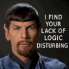 "madfilkentist: Evil Spock with words ""I find your lack of logic disturbing"" (Spock)"