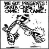 lady_yashka: Calvin and Hobbes panel with them saying: We got presents! Santa came! He came! He came! (Calvin and Hobbes-Santa)