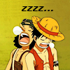printfogey: Luffy and Usopp leaning on each other while asleep (luuso snore)