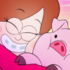 flamingstumpy: Mabel rubbing her cheek against Waddles, her pet pig. (gf º oh my gosh waddles)