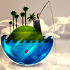 prime_integrals: Someone fishes in the sky from an island in a fishbowl. (little world)