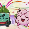 flamingstumpy: Bulbasaur and Jigglypuff living it up. (pkmon º moirail and me)