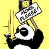 "printfogey: Genma from Ranma 1/2 in panda form, holding sign ""More, please"" (genma moreplease)"