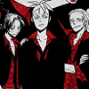 fierybluebird: [Marco in the middle with Thatch and Ace on either side of him, all three in suits] (suits)