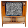 twoapennything: A vintage television set, circa 1960, with snow on the screen (Vintage TV)