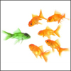 twoapennything: A lone green fish being sized up by a group of five goldfish (Awkward (Green Fish))