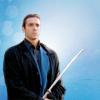 em_kellesvig: Duncan MacLeod holding his sword on blue background. (HLDMSword)