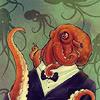 eightlazylegs: A painting of an orange octopus in a tuxedo (Dapper)