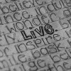 "stardyst: lined notebook page with several words, ""live"" is emphasized.  (live.)"