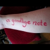 "calystarose: ""a goodbye note in lipstick on"" my arm (A Goodbye Note)"