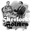 "lefaym: A drawing of Holmes and Watson with the words ""Sherlock Holmes"" below (sherlock holmes)"