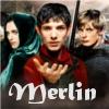 "lefaym: Morgana, Merlin and Arthur with the text, ""Merlin"" (merlin)"