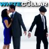 """lefaym: Peter and El kiss, while Peter is handcuffed to Neal.  The text """"White Collar"""" underneath (white collar: OT3)"""