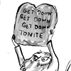 "hector_rashbaum: moses holding the lost commandment ""get down tonite"" (get down 2nite)"