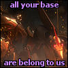 stainless: Megatron and Starscream standing in wreckage, reads ALL YOUR BASE ARE BELONG TO US (mss, otp, pwnage)
