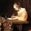 jumpuphigh: Dutch painting of a woman writing a letter.   (writing)