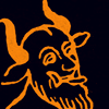 quillori: woodblock print of a devil, recoloured orange on black (occasion: halloween)