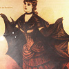 quillori: vintage illustration of a female vampire, Victorian dress, small cloak reminiscent of bat wings (subject: vampires (vintage))