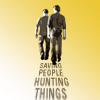 sunspot: dean and sam, black text on yellow 'saving people, hunting things' (saving people 'n' hunting things)