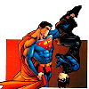 cmshaw: DC Comics: Superman hoists Nightwing up by the ankle (Bird in the hand)